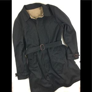 J. Crew Reversible Wool Trenchcoat, Size Large